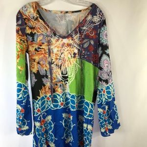 LUCKY GREEN/BLUE SIZE M TUNIC